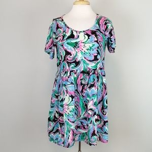 Vintage Abstract Floral Print Mini Dress Size S
